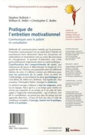 Pratique de l'entretien motivationnel ; communiquer avec le patient en consultation - 4ème de couverture - Format classique
