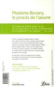 Madame Bovary, le procès de Flaubert - 4ème de couverture - Format classique