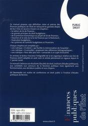 Finances publiques de l'Etat - 4ème de couverture - Format classique