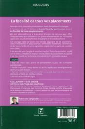 La fiscalité de tous vos placements (édition 2021) - 4ème de couverture - Format classique