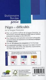 Dictionnaire Bordas poche ; pièges et difficultés de la langue française - 4ème de couverture - Format classique