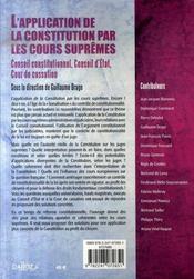 L'application de la constitution par les cours suprêmes - 4ème de couverture - Format classique