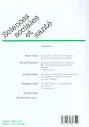 Sciences sociales et sante n.18 - 4ème de couverture - Format classique
