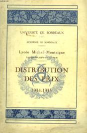 Distribution Des Prix 1934-1935. Lycee Michel De Montaigne Longchamps-Talence. - Couverture - Format classique