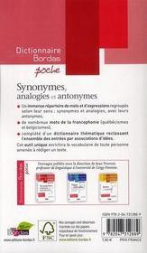 Dictionnaire Bordas poche : synonymes, analogies et antonymes - 4ème de couverture - Format classique