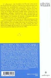 Villes Et Frontieres - 4ème de couverture - Format classique