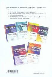Controle Continu ; Mathématiques ; Terminale L ; Enseignement De Spécialité - 4ème de couverture - Format classique