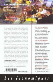 Les Multinationales Frein Ou Moteur De L'Economie - 4ème de couverture - Format classique