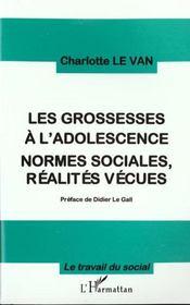 Les Grossesses A L'Adosecence-Normes Sociales, Realites Vecues - Intérieur - Format classique