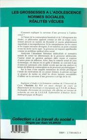 Les Grossesses A L'Adosecence-Normes Sociales, Realites Vecues - 4ème de couverture - Format classique