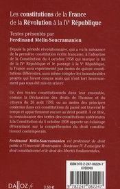 Les constitution de la France de la révolution à la IVe république - 4ème de couverture - Format classique