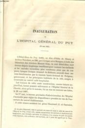 Inauguration De L'Hopital General Du Puy (26 Mai 1687) - Couverture - Format classique