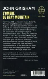 L'ombre de Gray Mountain - 4ème de couverture - Format classique