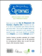 Aptonymes, ces noms qui prédestinent - 4ème de couverture - Format classique