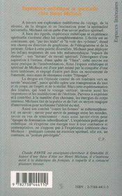 Experience Esthetique Et Spirituelle Chez Henri Michaux - 4ème de couverture - Format classique