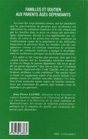 Familles Et Soutien Aux Parents Ages Dependants - 4ème de couverture - Format classique