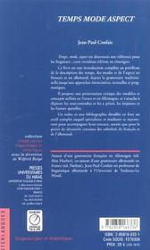Temps, mode, aspect les approches des morphemes verbaux et leurs problemes a l'exemple du francais e - 4ème de couverture - Format classique