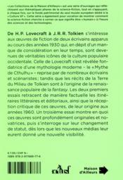 De H.P. Lovecraft à J.R.R. Tolkien ; Lovecraft, Tolkien, créateurs d'univers - 4ème de couverture - Format classique