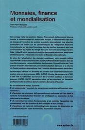 Monnaies, finance et mondialisation (3e édition) - 4ème de couverture - Format classique