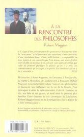 A la rencontre des philosophes - 4ème de couverture - Format classique