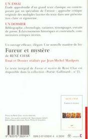 Fureur Et Mystere De Rene Char (Essai Et Dossier) - 4ème de couverture - Format classique