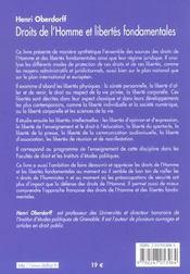 Droits De L'Homme Et Libertes Fondamentales - 1e Ed - 4ème de couverture - Format classique
