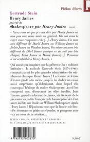 Henry James - 4ème de couverture - Format classique