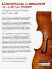 L'enseignement du mouvement dans le jeu des cordes - 4ème de couverture - Format classique