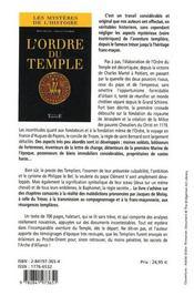 L'ordre du temple - 4ème de couverture - Format classique