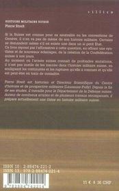 Histoire Militaire Suisse - 4ème de couverture - Format classique