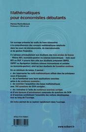 Mathématiques pour économistes débutants (2e édition) - 4ème de couverture - Format classique