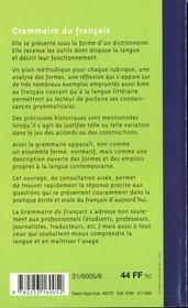 Grammaire du francais - 4ème de couverture - Format classique