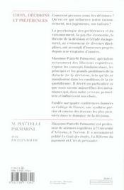 Choix, decisions et preferences - 4ème de couverture - Format classique