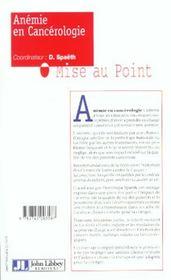 Anemie En Cancerologie - 4ème de couverture - Format classique