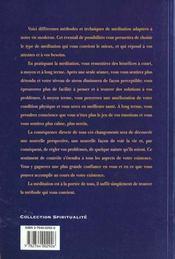 La Meditation A La Portee De Tous ; Techniques Et Methodes De Meditation - 4ème de couverture - Format classique