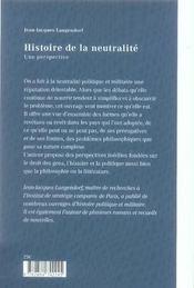 Histoire de la neutralité ; une perspective - 4ème de couverture - Format classique