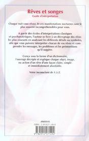 Reves et songes ; guide d'interpretation - 4ème de couverture - Format classique