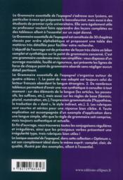Grammaire essentielle de l'espagnol : lycée, classes préparatoires, université - 4ème de couverture - Format classique