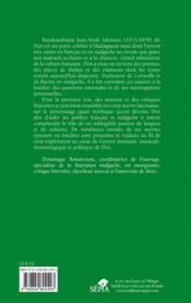 Dox, écrivain et musicien à Madagascar - 4ème de couverture - Format classique