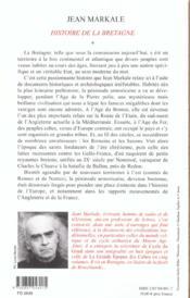 Histoire - t01 - histoire de la bretagne - des origines aux royaumes bretons - 4ème de couverture - Format classique