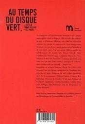 Au temps du disque vert ; lettres à franz hellens - 4ème de couverture - Format classique