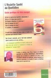 L'Assiette Sante Au Quotidien. Guide Pratique Du Bien Manger. - 4ème de couverture - Format classique