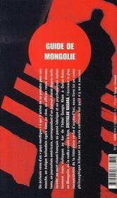 Guide de mongolie - 4ème de couverture - Format classique