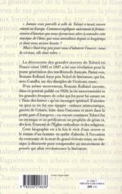 Vie de Tolstoï (édition 2010) - 4ème de couverture - Format classique