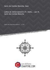 Lettre de remerciement à M. Hallé,... par M. Janin de Combe-Blanche [édition 1785] - Couverture - Format classique