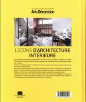 Leçons d'architecture intérieure - 4ème de couverture - Format classique
