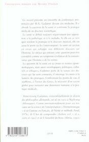 Philosophie de la sante - 4ème de couverture - Format classique