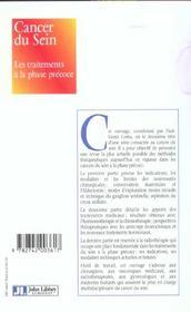 Cancer Du Sein. Les Traitements A La Phase Precoce - 4ème de couverture - Format classique