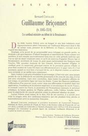 Guillaume briconnet (v. 1445-1514) un cardinal-ministre au debut de la renaissance - 4ème de couverture - Format classique