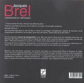 Jacques Brel ou l'imagination de l'impossible - 4ème de couverture - Format classique